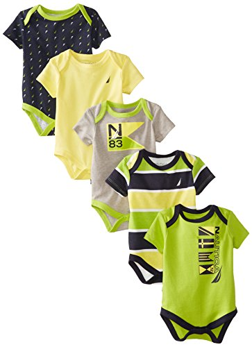 Nautica Baby-Boys Newborn Baby Boy Assorted Multi Pack Bodysuits, Assorted, 3/6 Months front-1026392