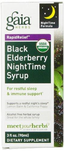 Gaia Herbs Black Elderberry Nighttime Syrup, 3 Ounce