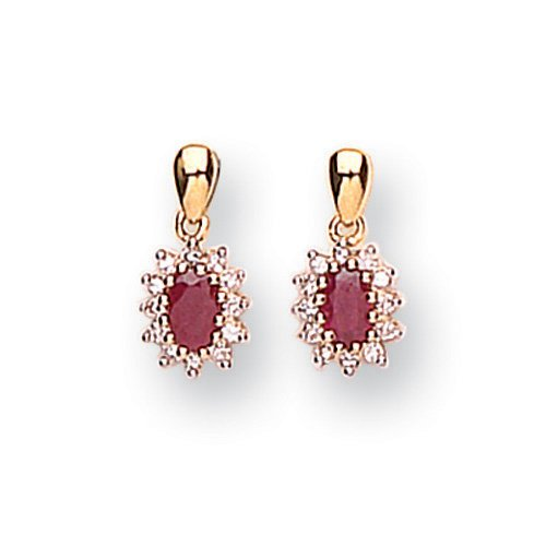 Diamond with Ruby Earrings in 9ct Yellow Gold