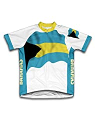 Bahamas Flag Short Sleeve Cycling Jersey for Women
