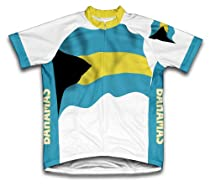 Bahamas Flag Short Sleeve Cycling Jersey for Men - Size 2XL