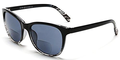 Samba Shades Bi-Focal Sun Readers Fashion Wayfarer Sunglasses with Black and Transparent Frame, Grey Lens, 1.75 Rx Magnification (Womens Sun Shades compare prices)