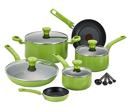 T-fal C968SE Excite Nonstick Thermo-Spot Dishwasher Safe Oven Safe PFOA Free Cookware Set, 14-Piece, Green (Ovensafe Cookware compare prices)