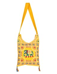 Rajrang Bags For College Girls Elephant Printed Cotton Embroidered Work Yellow Sling Bag