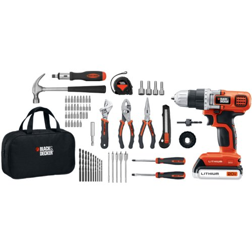 Black & Decker LDX120PK Lithium Drill and Project Kit, 20-volt