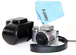 Fotasy Black Ever Ready Protective Black PU Leather Camera Case for Sony NEX-5R & NEX-5T with 16-50mm Retractable Zoom Lens SELP1650, Premier Cleaning Cloth