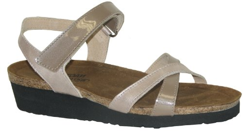 Naot Womens Alexis, 37, Taupe Patent Leather Quartz Leather