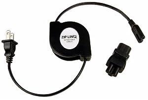 Ziplinq ZIP-PWR-NB Retractable Universal Notebook Power Cord (56 Inches, Black)