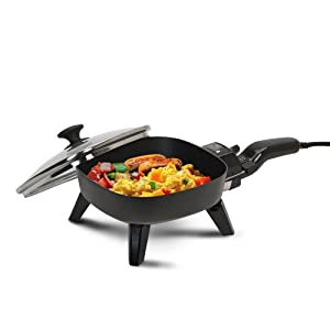 MaxiMatic EFS-400 Elite Cuisine 7-Inch Non-Stick Electric Skillet with Glass Lid, Black