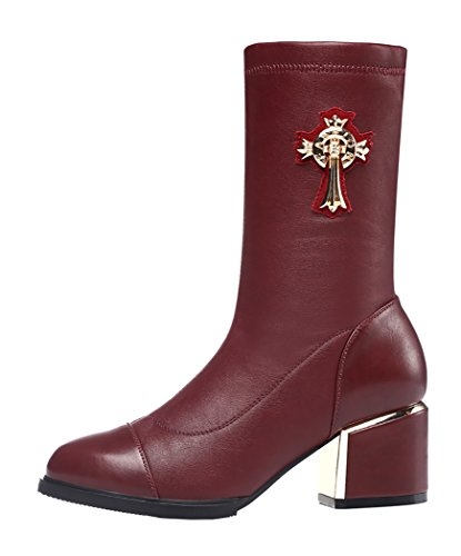 Guciheaven Winter New Style Fashion Rough Heels Mid-Calf Boots(7.5 B(M)Us, Red)