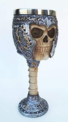Ossuary Style Skeletal Skull Wine Goblet Bones Skull Armor Cup - Orcskull Cup by maa
