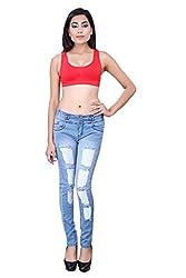 FNocks Women Slim Fit Light Blue Jeans 26 28 30 32 34 (26)