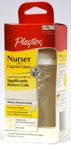 Playtex Nurser with 5 Drop-Ins Liners, 4 Oz, [White] (Pack of 3) - 1