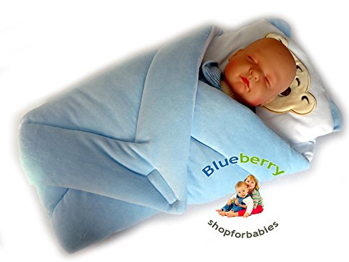 Blueberry Shop Exclusive Warm Velour Newborn Swaddle Wrap Blanket Duvet Sleeping Bag Snuggle Blue