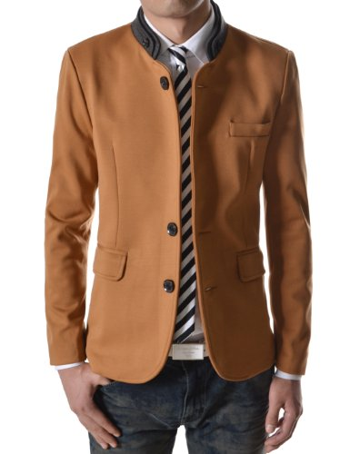 TheLees (CJK2) Mens Double Collar 3 Button 2 Tone Blazer Jacket Brown XX-Large(US X-Large)