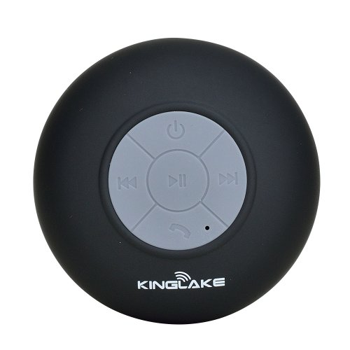 Kinglake® New Waterproof Wireless Bluetooth Shower Speaker Handsfree Speakerphone Compatible With All Bluetooth Devices Iphone 5S And All Android Devices (Black))