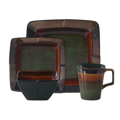 square reactive glaze stoneware dinnerware set green dinnerware sets