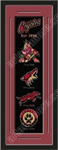 Heritage Banner Of Phoenix Coyotes With Team Color Double Matting-Framed Awesome... by Art and More, Davenport, IA