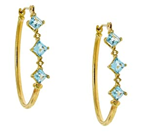10k Yellow Gold Square-cut Blue Topaz and Genuine Diamond Oval Hoop Earrings