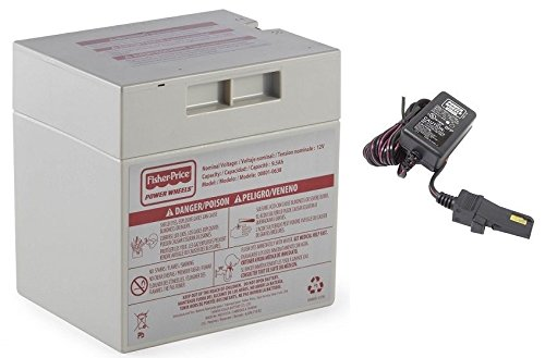 1 X Gray 12V Power Wheels Battery + 12 Volt Gray Charger w/ Probe 00801-1480 (12 Volt Power Wheels compare prices)