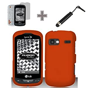 (3 Items Combo : Case - Screen Protector Film - Stylus Pen) Rubberized Solid Orange Color Snap on Hard Case Skin Cover Faceplate for LG Rumor Reflex VN272/LN272 (Sprint/Boost)