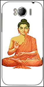 Snoogg Buddha For Peace White Designer Protective Back Case Cover For HTC Sensation Xl