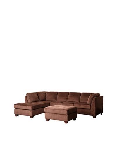 Abbyson Living Derlena Microsuede Sectional Sofa & Storage Ottoman Set, Dark Truffle