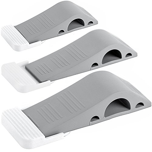 Wundermax Decorative Door Stopper 3 Pack With 3 Free Bonus Holders, Securely Wedges The Door And Works on All Floor Surfaces, Premium Rubber Door Stops (Gray)