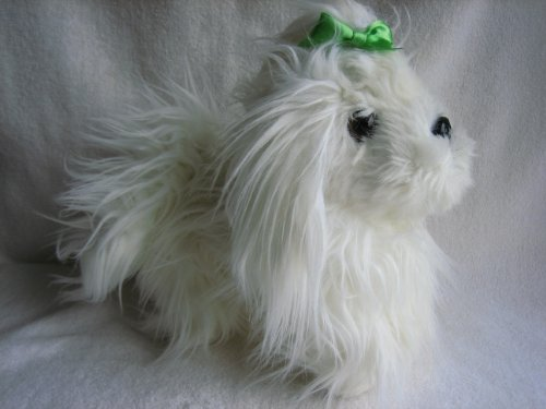 "Battat White Yorkie Green Bow 10"" Plush - 1"