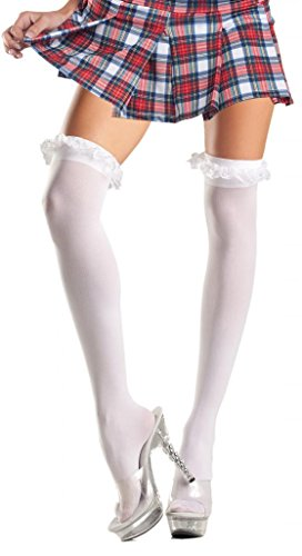 Costume Adventure Women's Plus Size White Sexy School Girl Thigh Hi Stockings