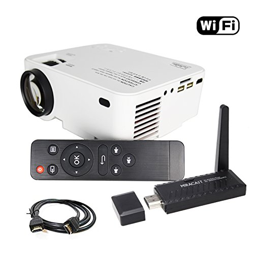 Touyinger プロジェクター 小型 1500lm WIFI無線接続 日本語説明書 (USB/SD/HDMI/VGA) 家電安全PSE WIFIディスプレイ 白