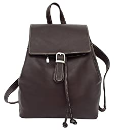 Piel Leather Top Flap Drawstring Backpack in Chocolate