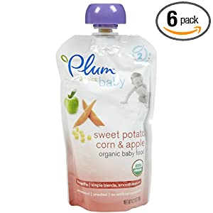 Plum Organics Baby Second Blends - Sweet Potato, Corn & Apple - 4.22 oz - 6 pack --