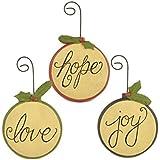 "Blossom Bucket Round With Joy/Hope/Love Ornaments Christmas Decor (Set Of 3), 5"" High"