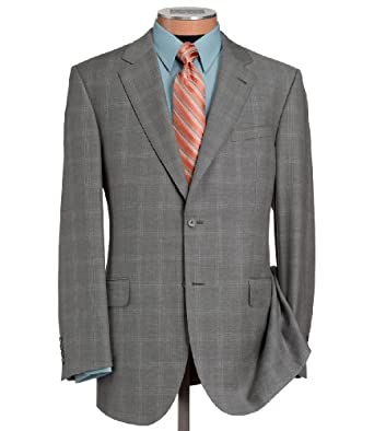Joseph Jos A Bank Wool Suit Grey Fashion Windowpane