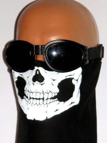 100% Cotton Skull Bandana Motorcycle Biker Mask Half Face with Small 6