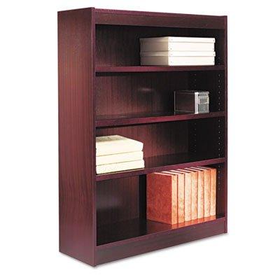 Alera BCS44836MY Square Corner Wood Veneer Bookcase, Four-Shelf, 35-5/8 x 11-3/4 x 48-Inch, Mahogany 48