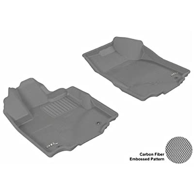 Black 3D MAXpider Front Row Custom Fit All-Weather Floor Mat for Select Toyota RAV4 Models Kagu Rubber