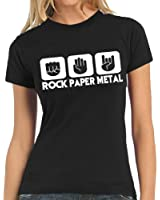 Touchlines Damen  T-Shirt Stein Papier Rock  Heavy Metal  Ladies