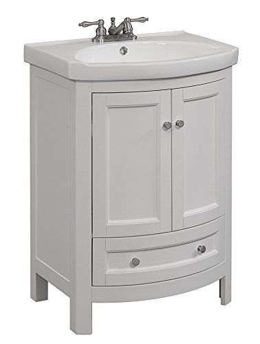 RunFine RFVA0069W Virteous Vanity Top One Drawer and Cabinet with  Slow Close Doors, White Finish