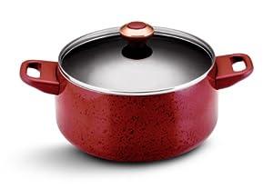 Paula Deen Signature Porcelain Nonstick 6-Quart Covered Stockpot, Red Speckle