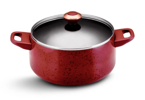 Paula Deen Signature Porcelain Nonstick 6-Quart Covered Stockpot, Red Speckle