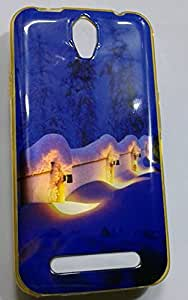 Premium Soft Fancy Gold Metallic Print Back Cover For Karbonn Quattro L50 - Ice House Design