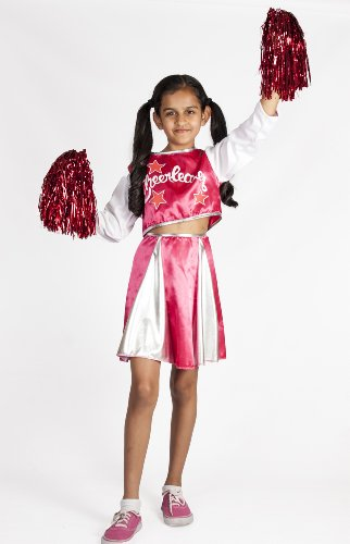 Cheerleader Costume for Girls with Pom Poms Pink Size S 4-6