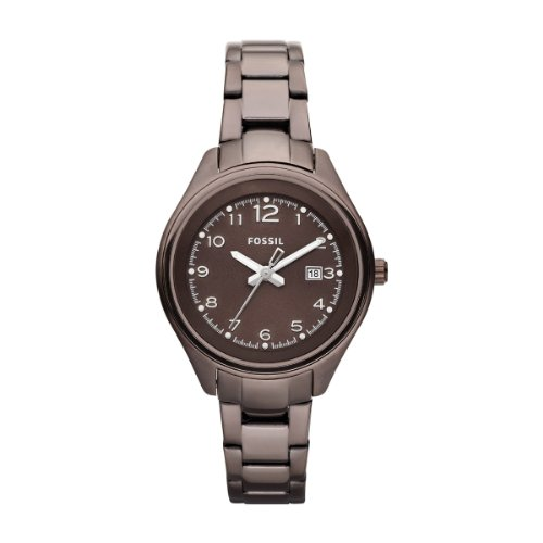 Fossil AM4383 - Reloj para mujeres, correa de acero inoxidable color marrón