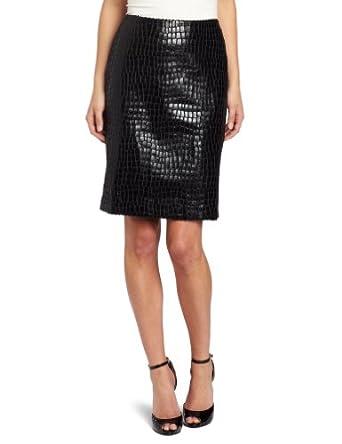 Anne Klein Women's Petite Alligator Skirt, Black, 10P