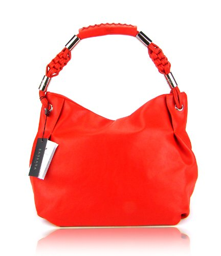 BARBARA MILANO Italian Red Leather Designer Handbag Hobo Shoulder Bag