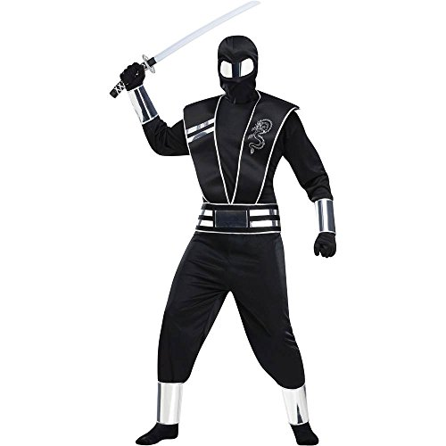 Silver Mirror Ninja Adult Costume - One size