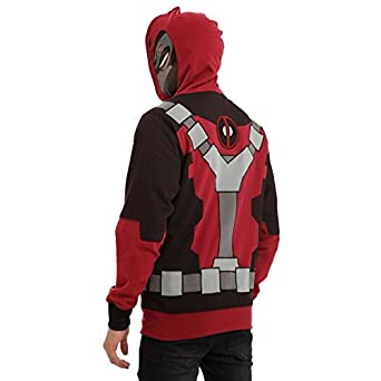 Deadpool Adult Hoodie Costume Mask Villain Super Hero Marvel Zip-Up Sweatshirt