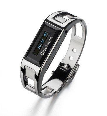 Sliver Bluetooth Bracelet Vibrating Alert Clock Watch Caller Id Display Anti-Loss Phone